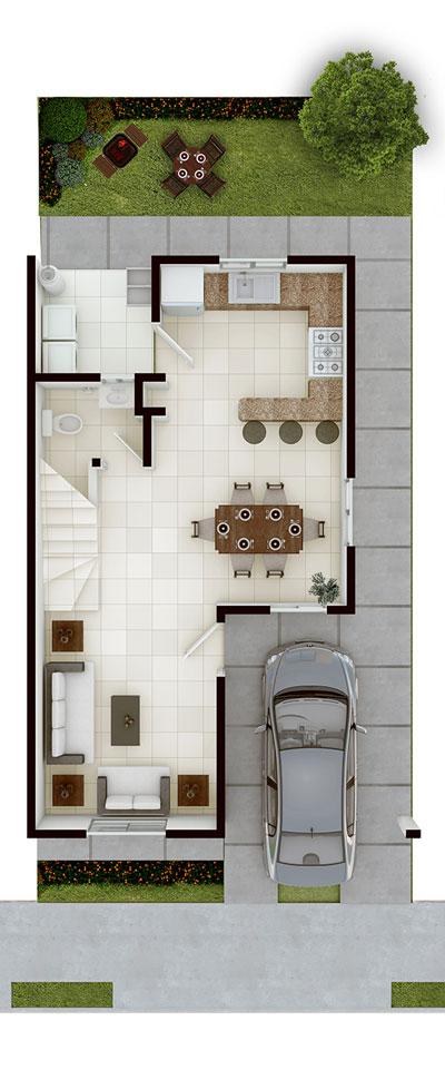 Casas en venta en Apodaca - Modelo Castilla lV-7 Planta Baja