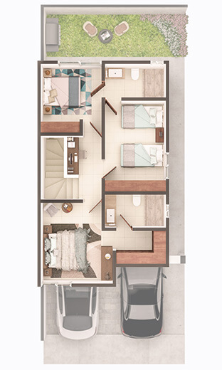 Foto de planta alta de casa en venta modelo Soria en Residencial Capellanía, Apodaca, Nuevo León.