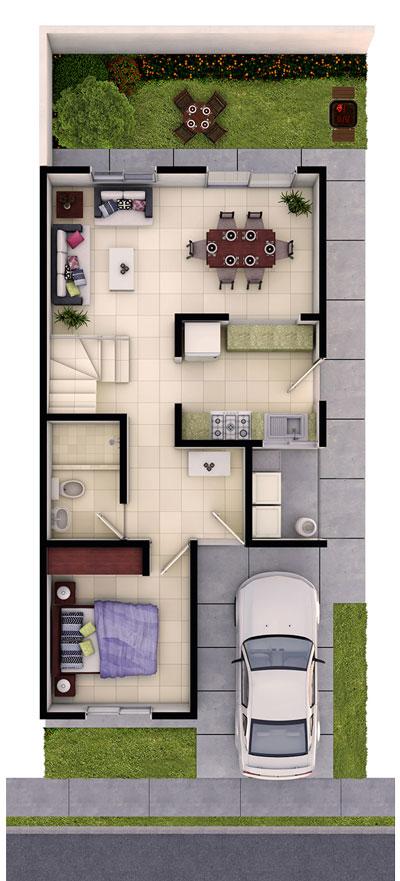 Foto de planta baja de casa en venta modelo Provenza en Residencial Capellanía, Apodaca, Nuevo León.